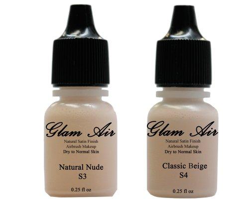 Glam Air Inc Two(2) Airbrush Foundation Maquillaje S3 Natural Nude & S4 Classic Beige en acabado satinado Botellas de 7oz (piel normal a seca)