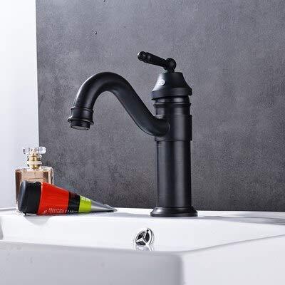 RSZHHL Wasserhahn Bad Becken Wasserhahn Mit Heißem Kaltem Wasser Becken Wasserhähne Chrom/Antik/KugelSchwarz