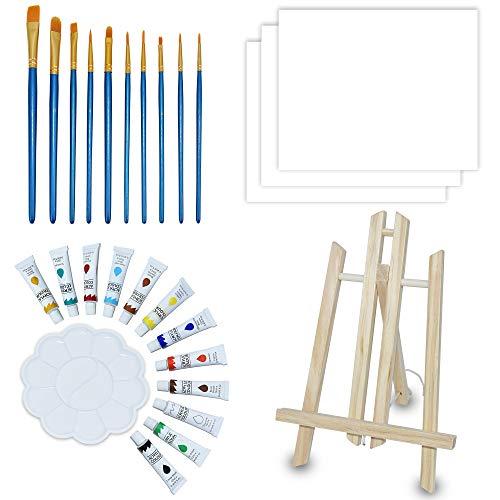 NIECHO Conjunto de pintura acrílica para crianças/iniciantes – Kit de 28 peças de tinta artística com mini cavalete de mesa, 3 telas, 10 pincéis, 12 tintas, paleta e bolsa de transporte