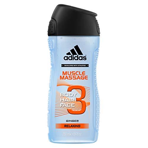 Adidas - Gel Douche Fonctionnel 3 en 1 pour Homme Muscle Massage - Relaxant - Shampoing - Multi-Bénéfices - 250ml - Lot de 4