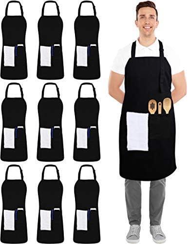 Utopia Kitchen Mesa Mall 10 Nippon regular agency Pack Adjustable Apron 2 with Pockets Bib