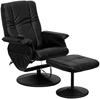 Flash Furniture Massaging Multi-Position Recliner and Ottoman with Wrapped Base in Black Leather