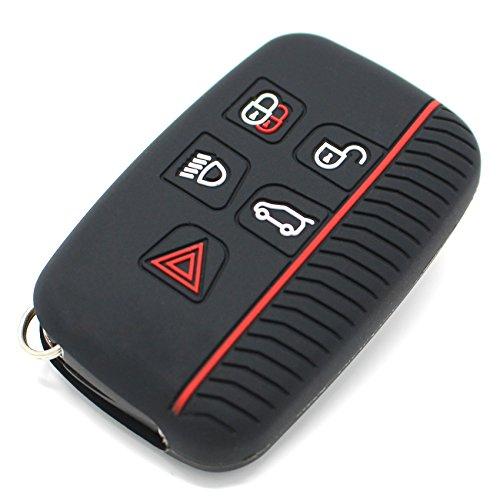 Finest Folia Coque de clé de voiture en silicone pour 5 boutons Noir/rouge