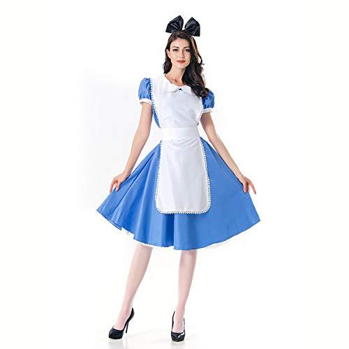FIZZENN Disfraces de Halloween para Mujer Cosplay Alice Maid Lolita Azul Fairytale ddress con el Delantal,L