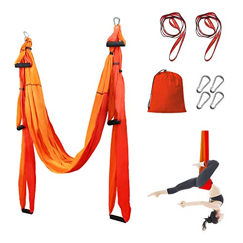 Sotech Yoga Swing, Anti-Gravity Yoga Sling Hammock for Aerial Yoga Inversion Tool with 2 Daisy Chain, Orange/Red