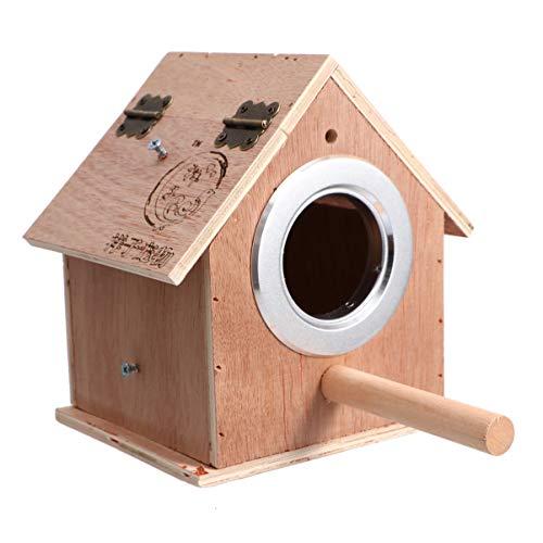 iplusmile Vogelnestkast Houten Vogelhuisje Met Standaard Vogelnest Kooi Voor Tortelduifjes Valkparkiet Papegaai Papegaaiachtigen Maat M (Beige)