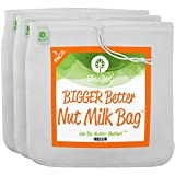 Pro Quality Nut Milk Bag - 3 XL12'X12' Bags - Commercial Grade Reusable All Purpose Food Strainer - Food Grade BPA-Free - Ultra Strong Fine Nylon Mesh - Nutmilk, Juices, Cold Brew - Recipes & Videos