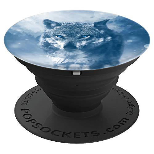 Winter Wolf Predator Gift Snowfall Cold Mysical Animal Snow PopSockets Grip and Stand for Phones and Tablets