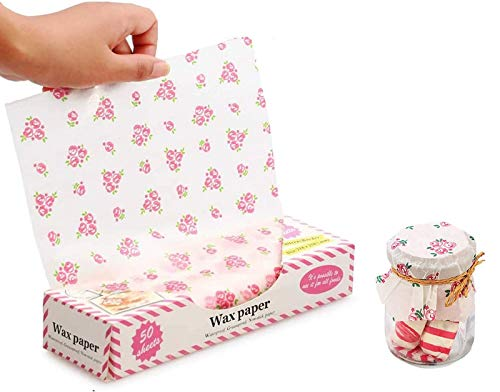 50 Sheets Wax Paper Food Picnic Paper Disposable Food Wrapping Greaseproof Paper Food Paper Liners Wrapping Tissue for Plastic Food Basket (Little Rose)