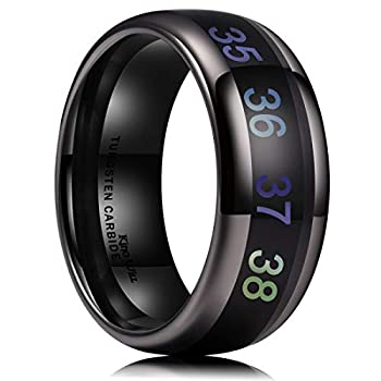 King Will Men s 8mm Black Temperature Measurement Tungsten Carbide Ring Wedding Band Polished Comfort Fit 10