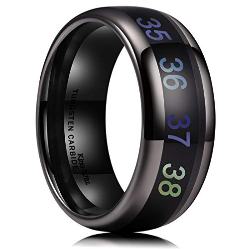 King Will Men's 8mm Black Temperature Measurement Tungsten Carbide Ring Wedding Band Polished Comfort Fit 8