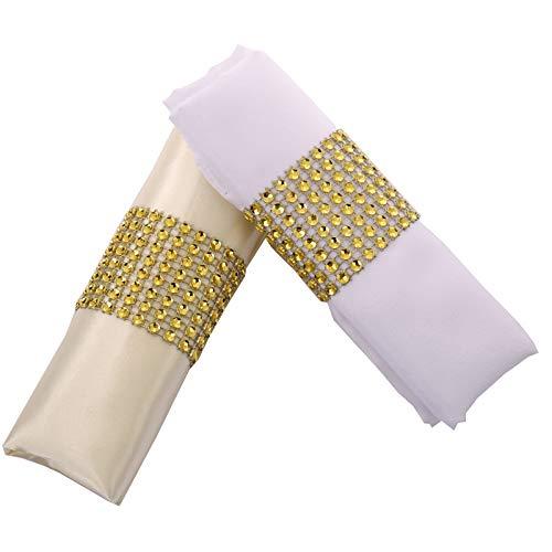 Digoon Napkin Rings Rhinestone Napkin Rings Adornment for Wedding Party (100 PCS, Gold)