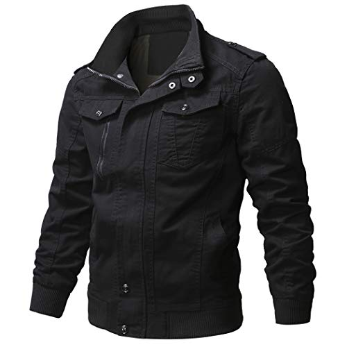 WULFUL Men's Cotton Military Jackets Casual Outdoor Coat Windbreaker Jacket Black M