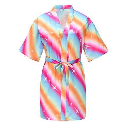usmley Albornoz de noche con impresión floral en forma de corazón con impresión floral en forma de mariposa arcoíris multicolor 5- 7 Años