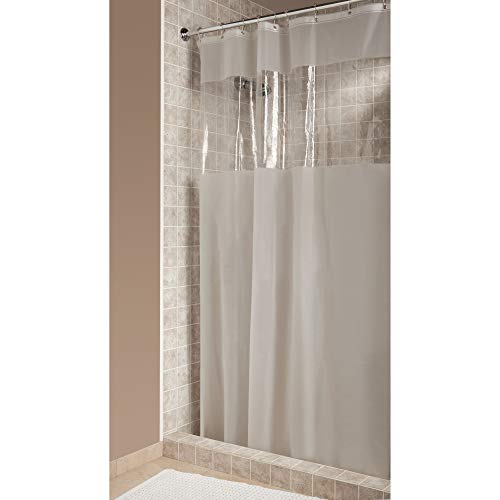 iDesign Hitchcock EVA Plastic Shower Liner Mold and Mildew Resistant for use Alone or With Fabric Curtain for Master, Guest, Kid's Bathroom, 72 x 72 Inches, Frost and Clear