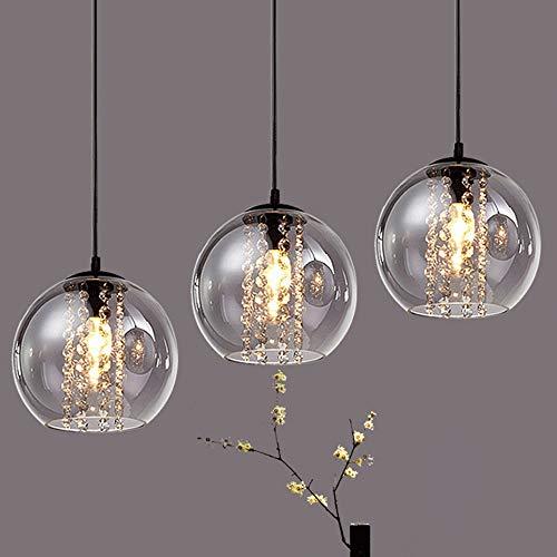 Esszimmerlampe Vintage Industrielle Pendelleuchte 3-flammig E14 Rund Glas Lampenschirm Kristall Hängeleuchte Höhenverstellbar Retro Kronleuchter für Wohnzimmer Schlafzimmer Esstisch (3-flammig)