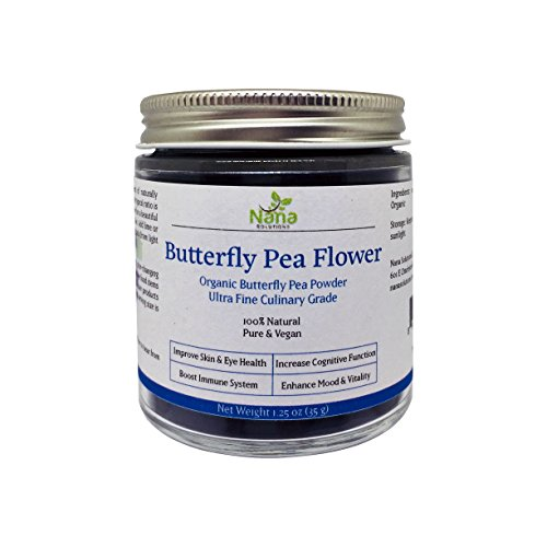Butterfly Pea Flower Powder | 100% Organic, Authentic Thai Origin, Premium Culinary Grade | Caffeine-free Natural Energy & Focus Booster Anti-oxidant for Beverages, Smoothies, Baked Goods