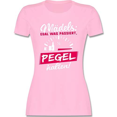 Typisch Frauen - Mädels: Egal was passiert, Pegel halten! - S - Rosa - t Shirt Frauen Motto - L191 - Tailliertes Tshirt für Damen und Frauen T-Shirt