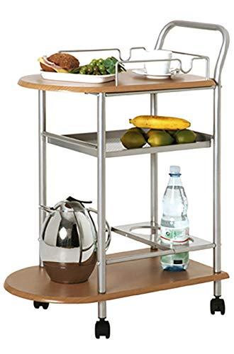 Haku Möbel Küchenwaagen - alufarbenes Stahlrohr - Ablagen MDF - Flaschenhalter H 83 cm
