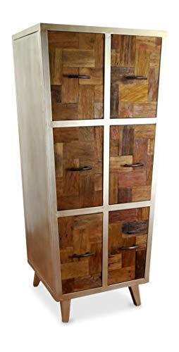 Java Hochschrank aus Metall und Teakholz | Kommode im Industrial Design | Asiatische Möbel der Marke Asia Wohnstudio | Schubladenschrank | Badezimmerschrank | Garderobenschrank | Teakholzmöbel (Handarbeit)