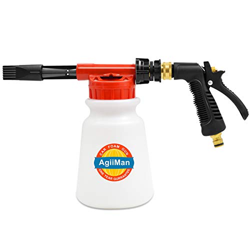 AgiiMan Car Wash Foam Gun - Foam Cannon, Garden Hose Sprayer with Adjustment Ratio Dial Blaster, Auto Detailing Cleaning Soap Cleaner, No Pressure Washer Required