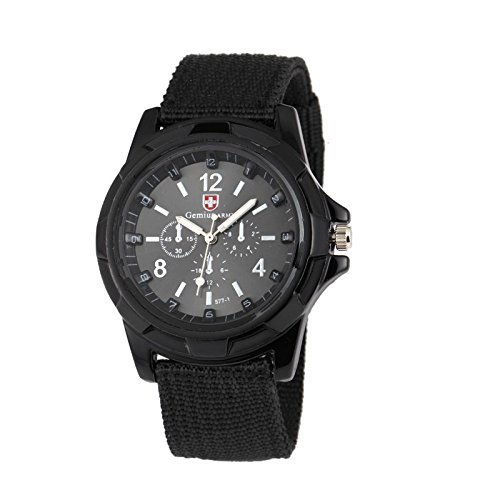 3A1Y Swiss Flag Gemius Army Men's Fabric Military Sport Quartz Watch (Black)