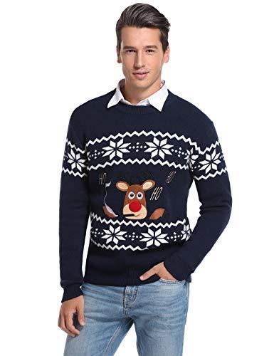 Aibrou Maglione Natalizio Uomo, Maglie Natale Uomo Girocollo Manica Lunga, Maglione Pullover Uomo per Xmas Autunno Inverno