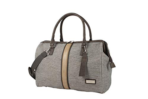 Nicole Miller New York Cameron Collection - Designer 19 Inch Frame Satchel for Women - Fashion Top Handle Handbags - Hinged Tote Satchel Purse Work Shoulder Bag (Cameron Tan)