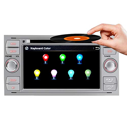 AWESAFE 7 Pollici Autoradio 2 Din per Ford Focus Fiesta Kuga C/S-Max Fusion Transit Galaxy Mondeo (2005-2007) Car Radio con Bluetooth Vivavoce, CD/DVD/USB/BT/FM/AM/MirrorLink (Argento)