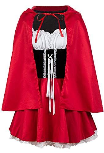 MAGIMODAC Damen Faschingskostüme Karnevalskostüm Fasching Karneval Party Kleid Cape Poncho Umhang Märchen Kostüm Kostüme Minikleid EU36-52 (Rot, L/EU 40)