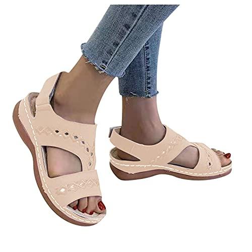 Dasongff Sandalias de cuña para mujer, de verano, de piel suave, con plataforma cruzada, con punta abierta