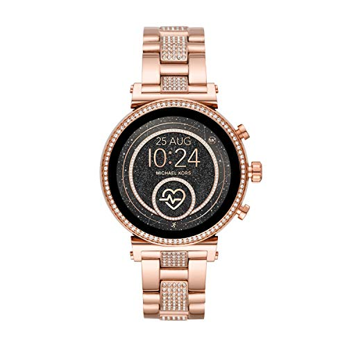 Michael Kors Access Women's Sofie Heart Rate' Touch-Screen Smartwatch with Stainless-Steel Strap, Rose Gold, 18 (Model: MKT5066)