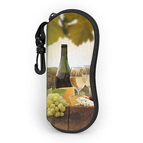 AOOEDM Estuche blando para gafas de sol de vino tinto Estuche para gafas para mujeres Hombres Estuche para gafas con cremallera de neopreno ultraligero