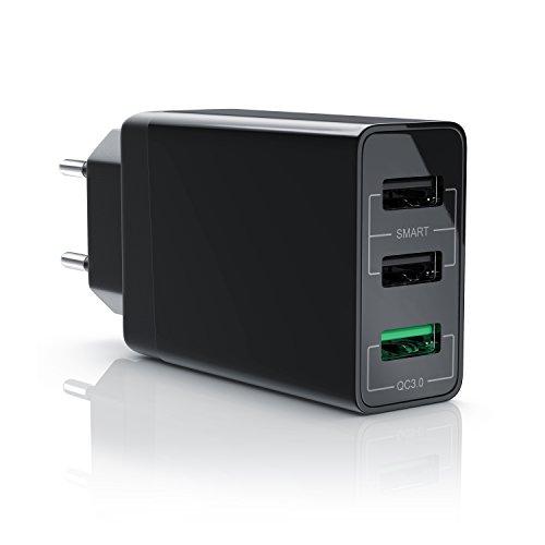 CSL - USB Ladegerät 30W QC 3.0-3-Port Netzteil mit Quick-Charging Schnellladefunktion - Smart Charge Solid Charge intelligentes Laden - geeignet für Handys Smartphones Navis Tablets - schwarz
