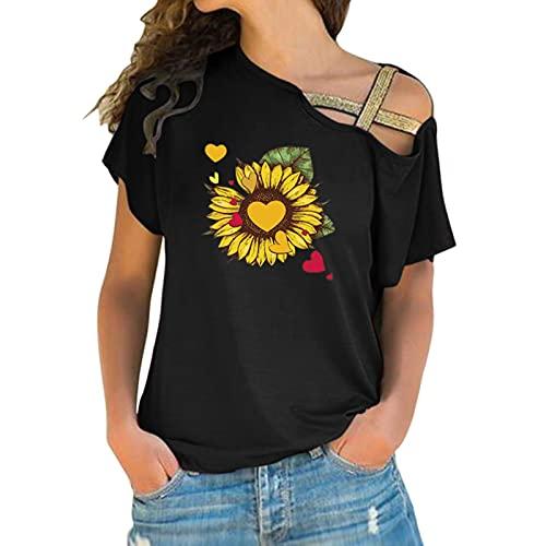 BIBOKAOKE Camiseta de manga corta para mujer, estilo informal, para verano, con estampado, Negro 61., S
