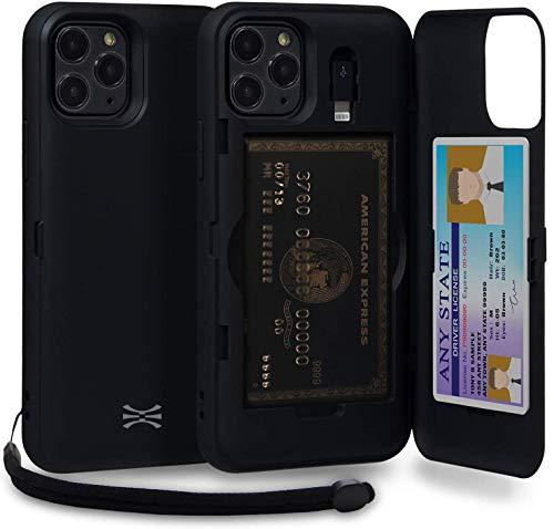 TORU CX Pro Funda iPhone 11 Pro Carcasa Cartera con Tarjetero Oculto, Adaptador Lightning, Correa para la muñeca y Espejo para Apple iPhone 11 Pro (2019) - Negro Mate