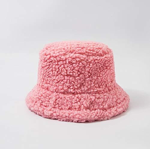 Sombrero de Mujer Piel Artificial sólida Gorra Femenina cálida Piel sintética Sombrero de Cubo de Invierno para Mujer Sombrero de protección Solar al Aire Libre Sombrero Panamá Lady Cap - Rosa