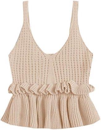 SweatyRocks Women s Casual Knit Top Sleeveless Ruffle Hem V Neck Peplum Crop Tank Top Beige product image