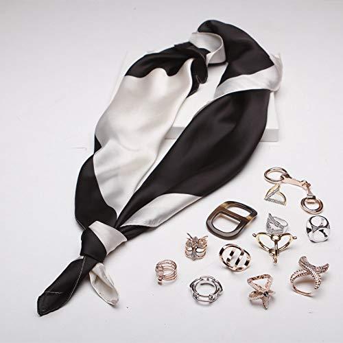 Zijde dames sjaal sjaal vierkant mode oversized zakdoek crème zijde kleur retro temperament eenvoudige vakantie cadeau ademend thin zwart