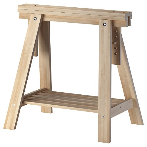 IKEA Beech Wood Desk Table Leg Trestle With Shelf