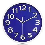 Lafocuse Reloj de Pared Azul Oscuro Números 3D Grandes Reloj de Cuarzo Educativo Silencioso Fácil de Leer para Niños Salon Habitacion Escuela 30cm