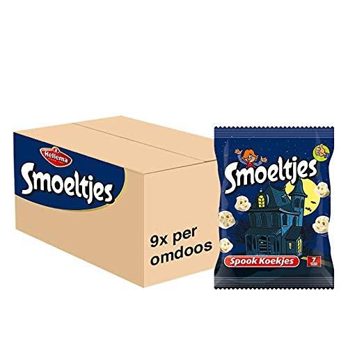 Smoeltjes Spookkoekjes   Grootverpakking  Doos met 9 zakken x 175 gram   63 uitdeelzakjes   Koekjes in de vorm van…