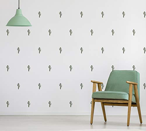 Muurstickers | Decoratieve Stickers Natuur, Botanisch, Planten, Scandinavisch | 28 Stuks | Groene Cactus (Donker)