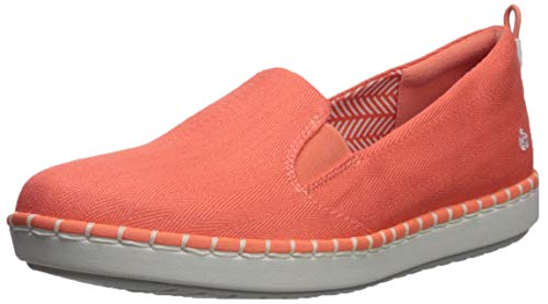 Clarks womens Step Glow Slip Loafer Flat, Coral Canvas, 9 Wide US