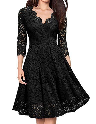 KOJOOIN Damen 1950er Vintage Brautjungfernkleider für Hochzeit Kurzes A-Linie Abendkleider, Schwarz (Lange Ärmel), Gr.- S/34-36
