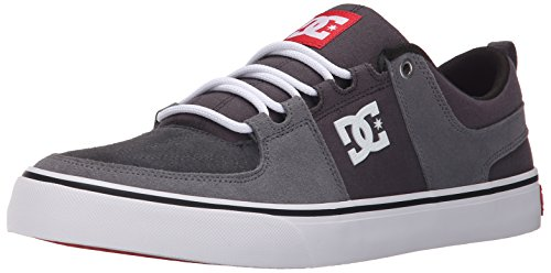 DC Unisex-Adult Lynx Vulc Skate Shoe-U, Grey/Grey/Red, 4.5 M US