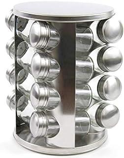 Rubik Spice Rack Stainless Steel Seasoning Storage Organization Spice Carousel Tower for Kitchen (Round 16pcs/Set)