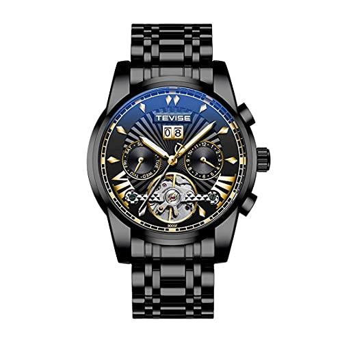 ZFAYFMA Reloj de hombre, reloj mecánico automático, resistente al agua, color marrón, barato, hueco, de acero inoxidable, con calendario, color negro