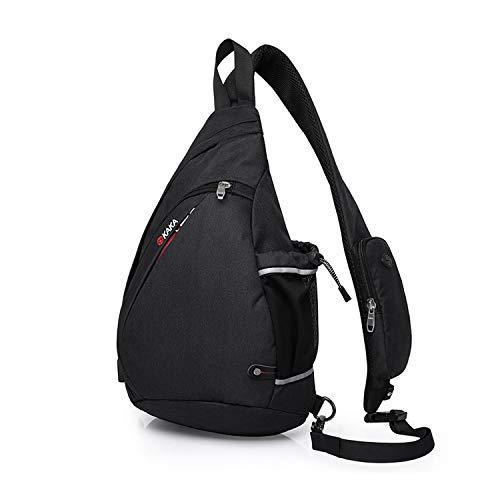 FANDARE Unisex Brusttasche, Umhängetasch für Damen und Herren, Messenger Schultertasche, zum Sport, Reisen und Joggen,Wasserdicht Polyester Schwarz