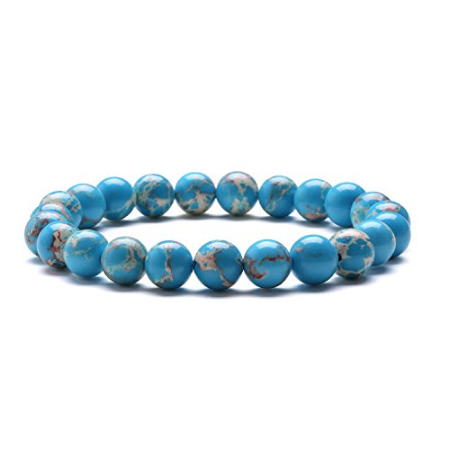 J.Fee Handmade Natural Crystal Stone 8mm Blue Sea Sediment Jasper Elastic Bracelet 7 Inches Unique Pattern Round Beads Bohemian Style Bangle Link Chain Unisex Jewelry